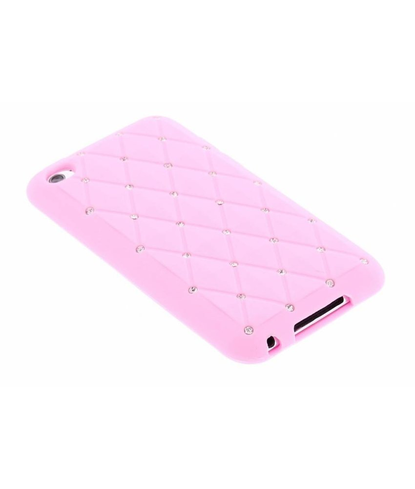 Roze siliconen hoesje met strass iPod Touch 4g