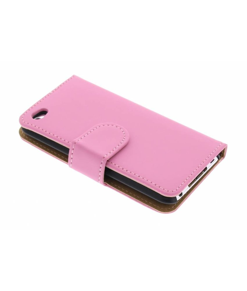 Roze effen booktype hoes iPod Touch 4g