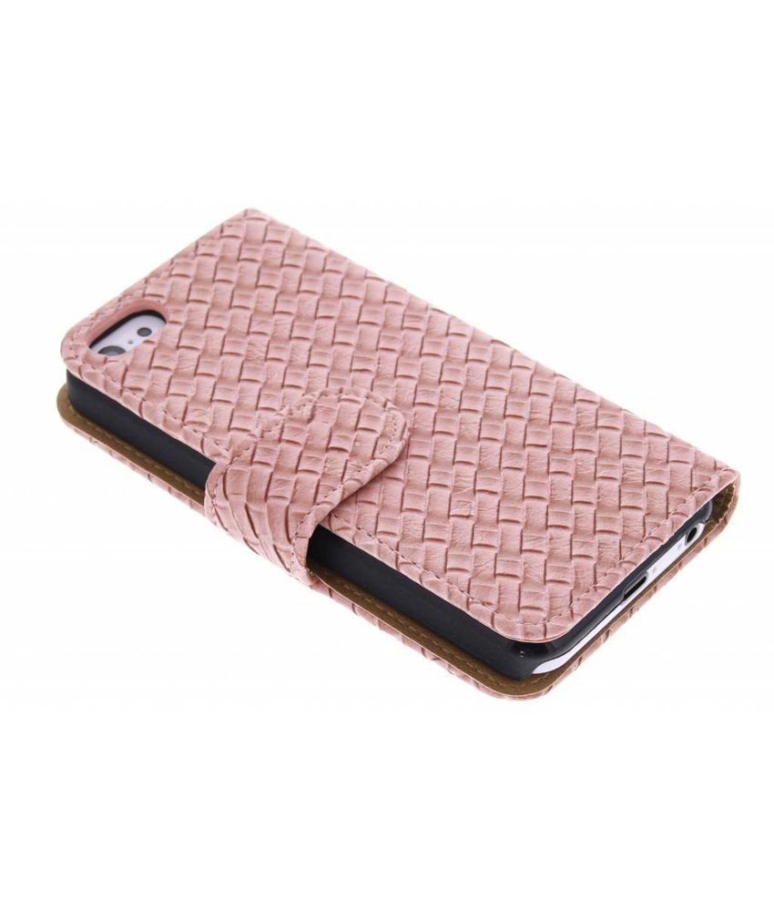 Geweven booktype hoes iPhone 5c
