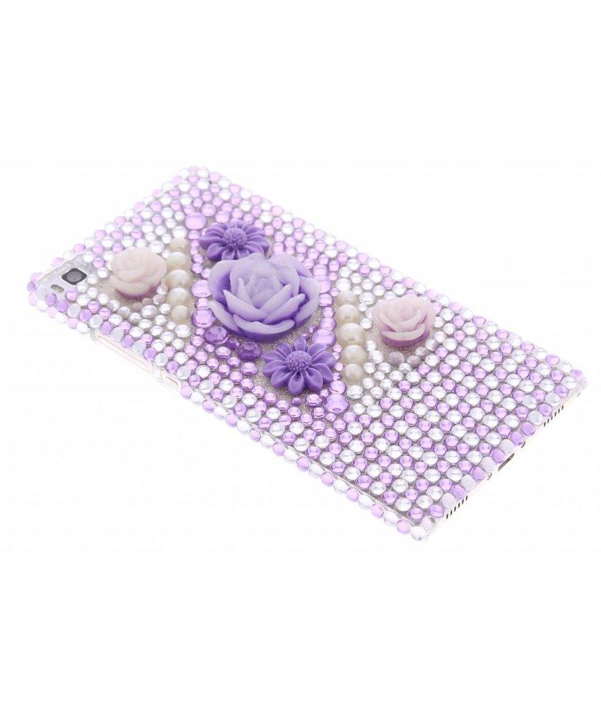 Paars bloemen BlingBling hardcase hoesje Huawei P8
