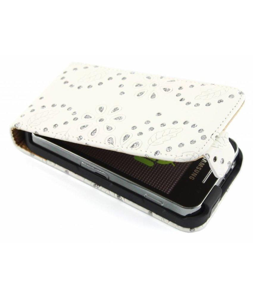 Wit bloemblad design flipcase Samsung Galaxy Ace