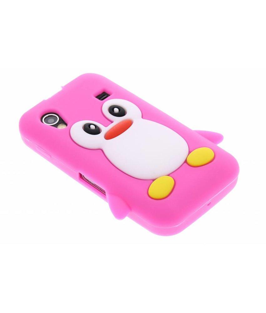 Fuchsia pinguin siliconen hoesje Samsung Galaxy Ace