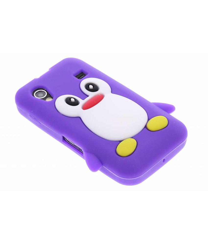 Paars pinguin siliconen hoesje Samsung Galaxy Ace