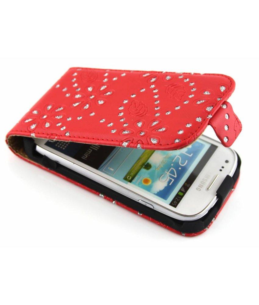 Rood bloemblad design flipcase Samsung Galaxy Ace 2