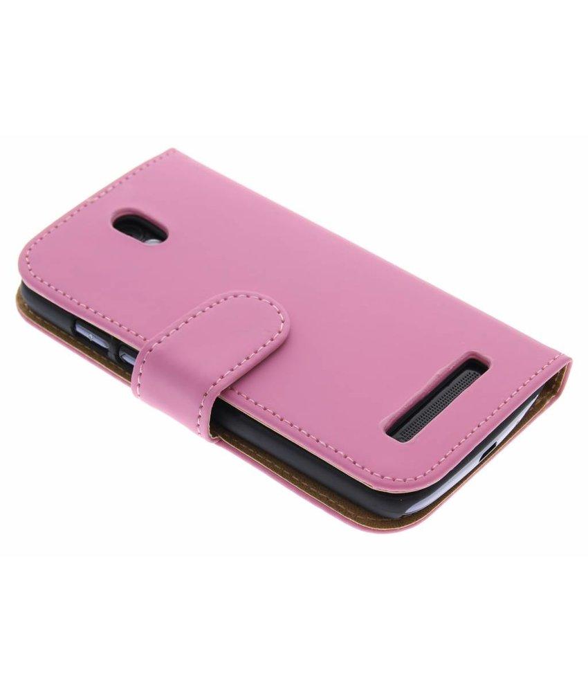 Roze effen booktype hoes HTC Desire 500