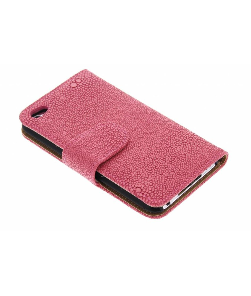 Fuchsia glanzend ribbelige booktype hoes iPod Touch 4g