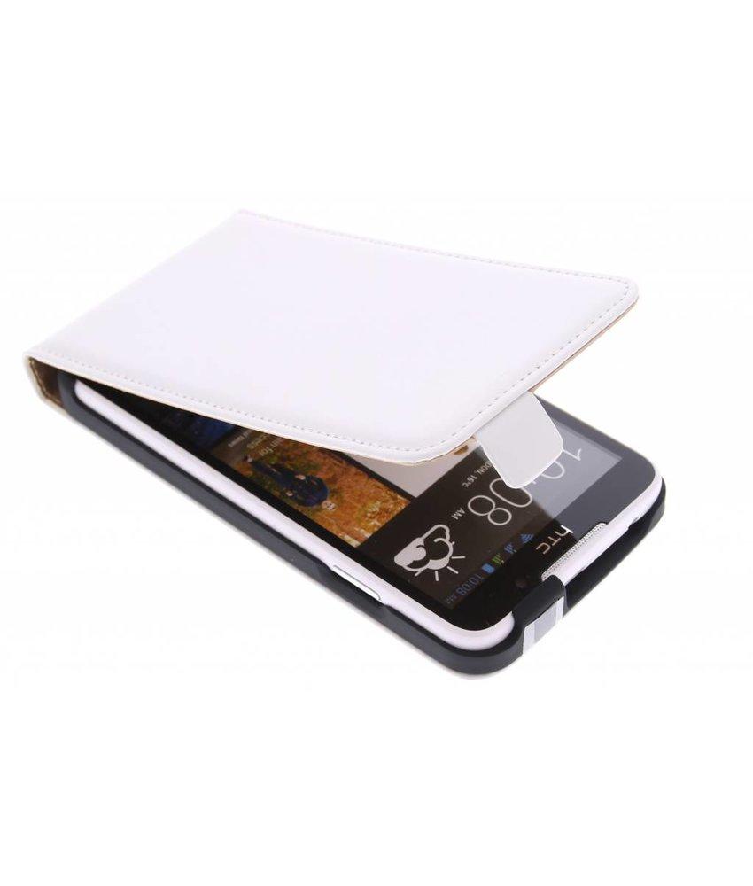 Wit luxe flipcase HTC Desire 516