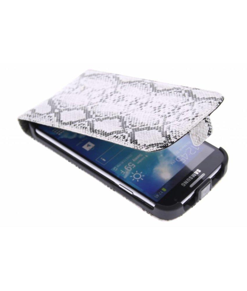 Wit slangenprint flipcase Samsung Galaxy S4