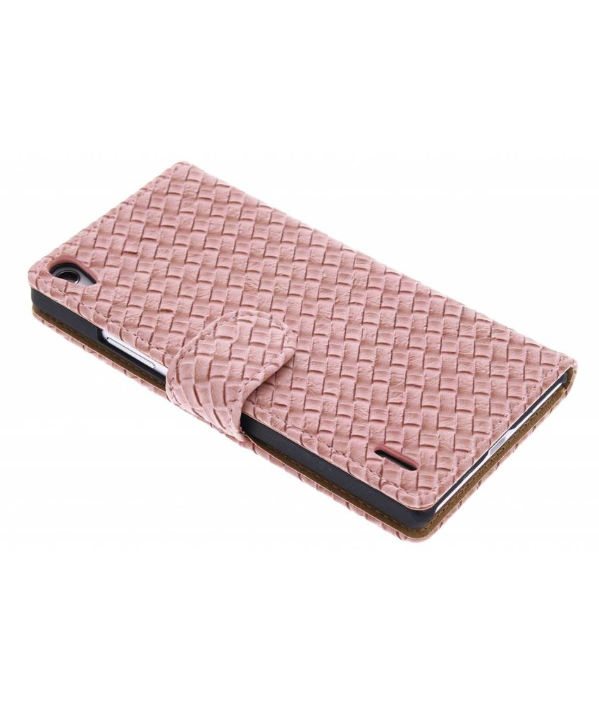 Geweven booktype hoes Huawei Ascend P7