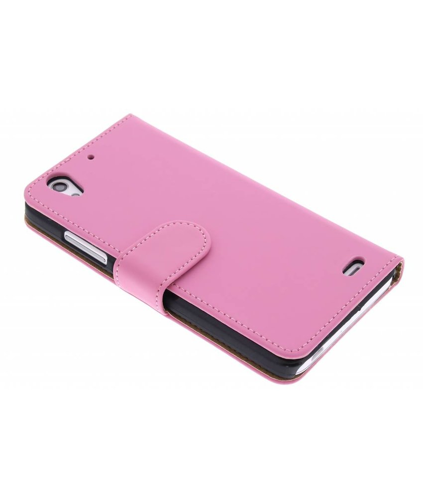 Roze effen booktype hoes Huawei Ascend G630