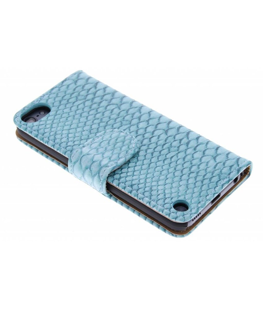 Turquoise slangen booktype hoes iPod Touch 5g / 6