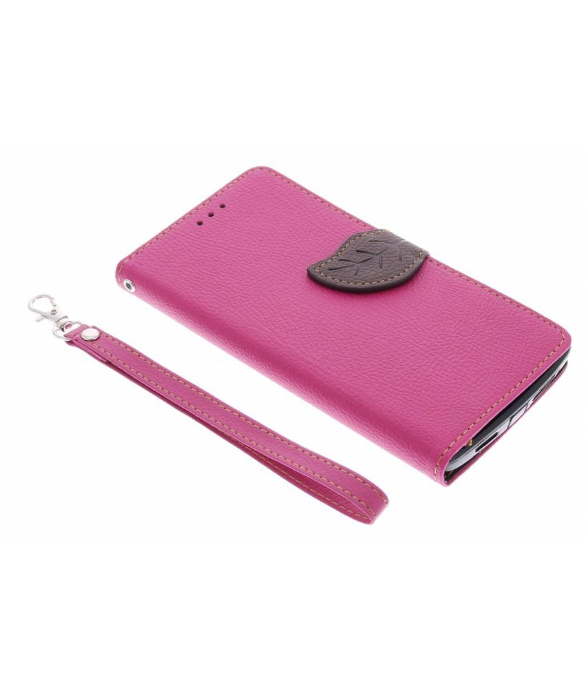 Fuchsia blad design TPU booktype hoes OnePlus One