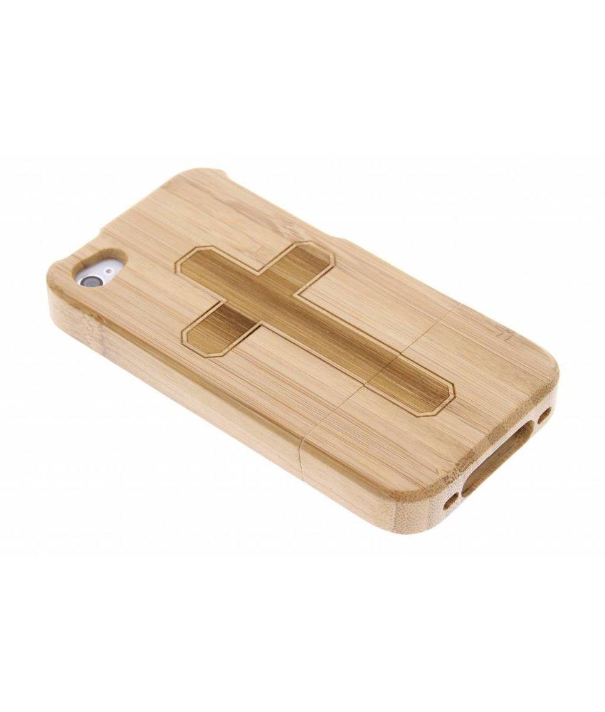Houten hardcase hoesje met print iPhone 4 / 4s
