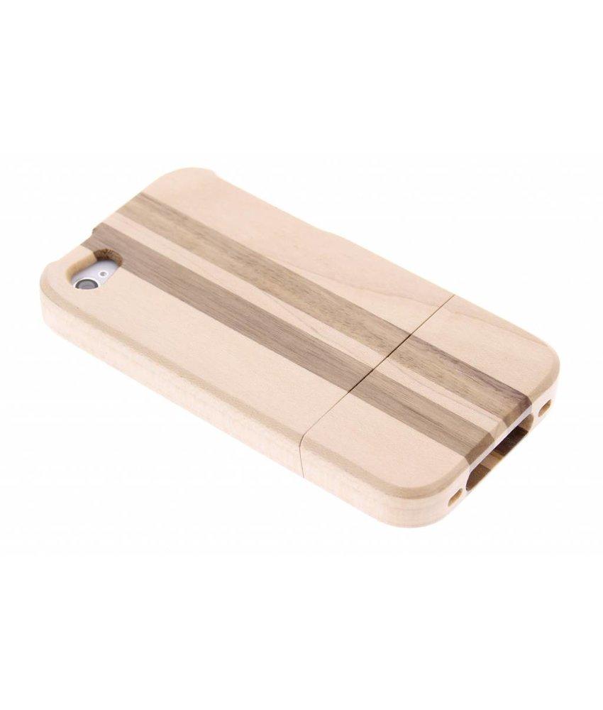 Gestreepte houten hardcase iPhone 4 / 4s