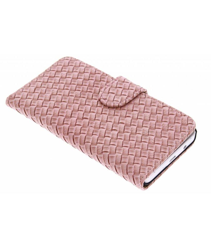 Roze geweven booktype hoes Samsung Galaxy A3