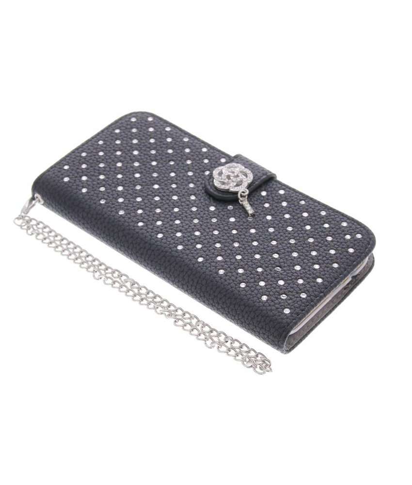 Zwart chique strass booktype hoes HTC One M9