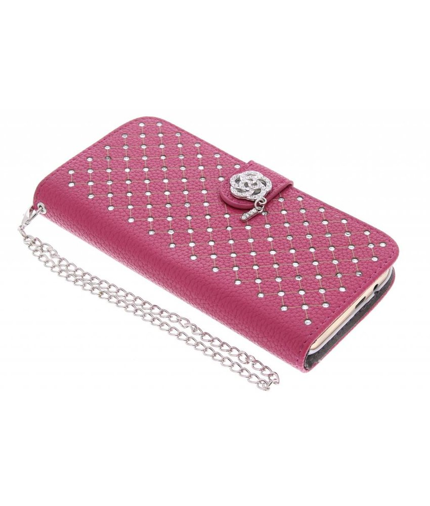 Fuchsia chique strass booktype hoes HTC One M9