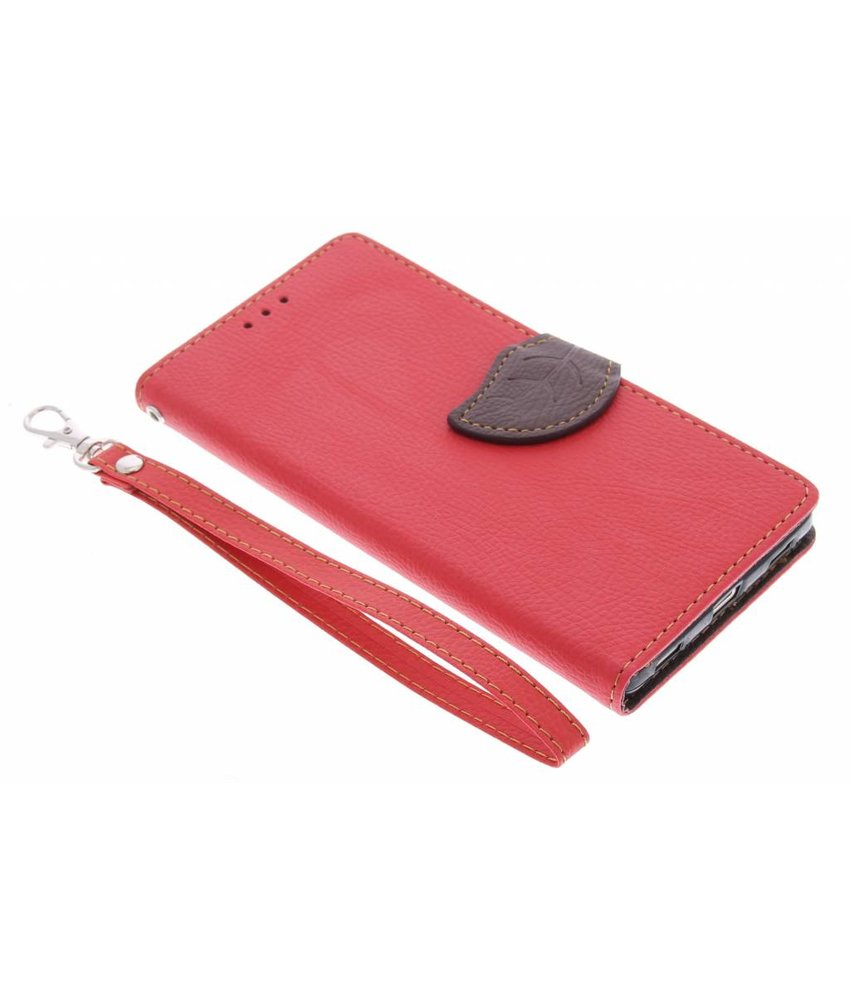 Rood blad design TPU booktype hoes Huawei P8