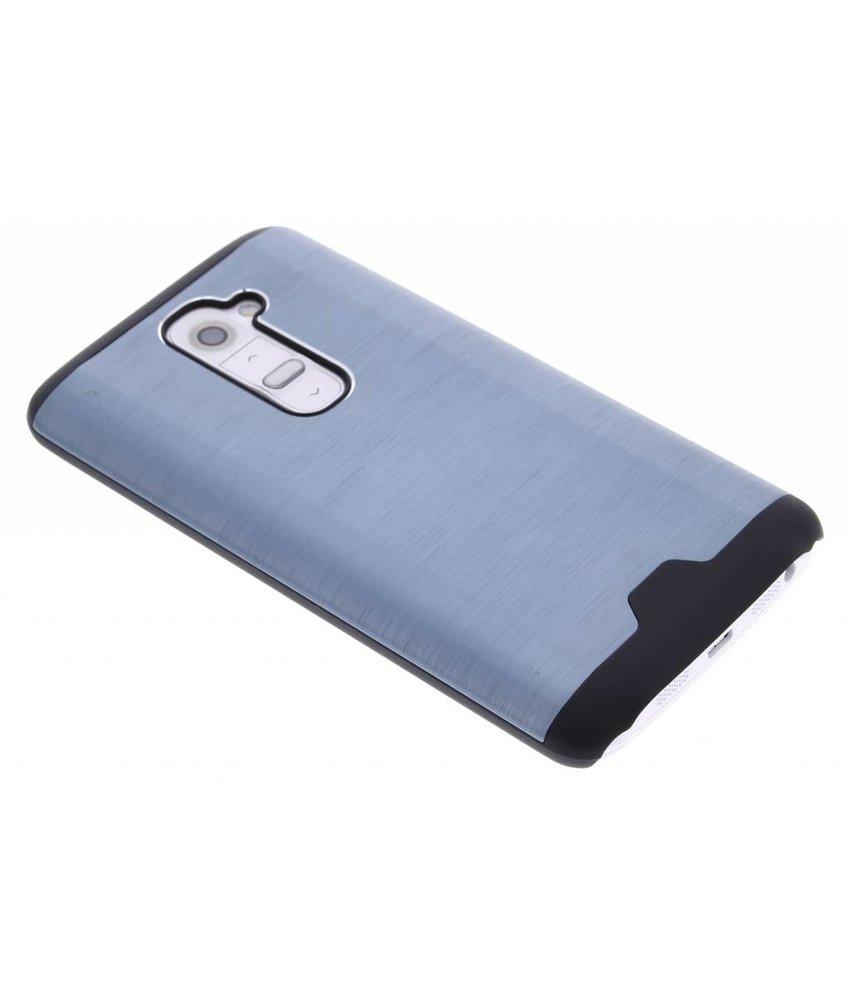 Blauw brushed aluminium hardcase hoesje LG G2