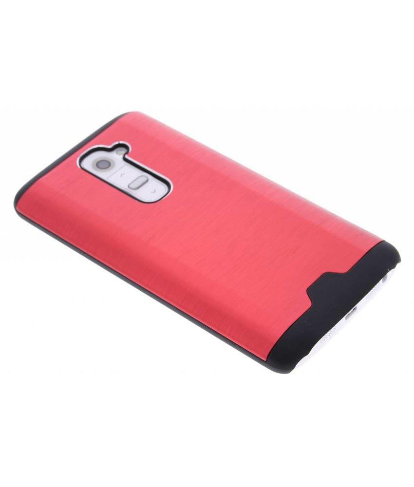 Rood brushed aluminium hardcase hoesje LG G2