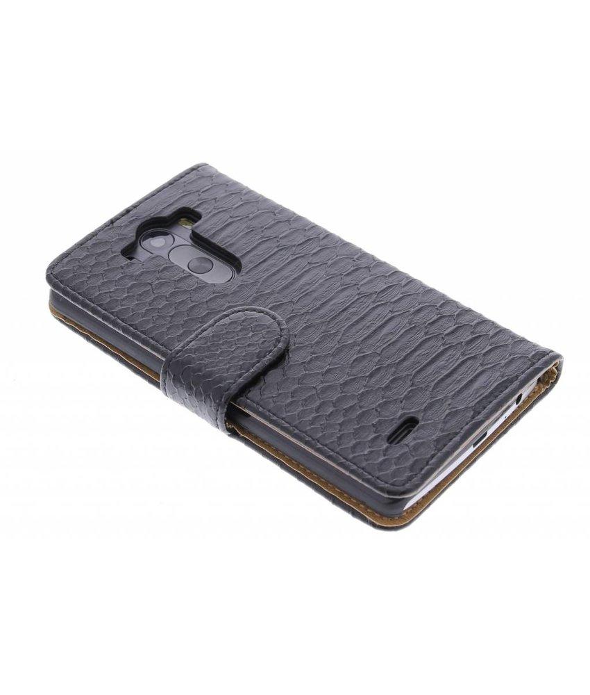 Zwart slangen booktype hoes LG G3