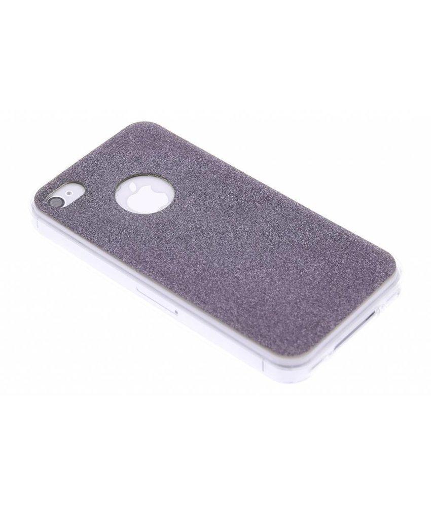 Zwart glitter TPU siliconen hoesje iPhone 4 / 4s