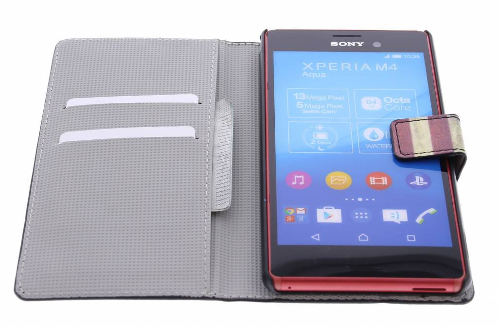 Américain Boîtier De Type Livre De Conception De Drapeau Pour Sony Xperia M4 Aqua 8kJnTdj