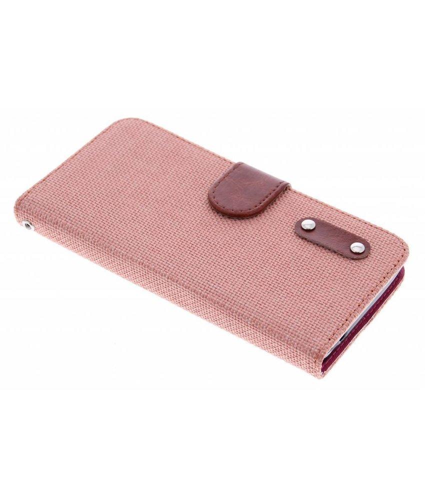 Zalmroze linnen look TPU booktype hoes Huawei Y635