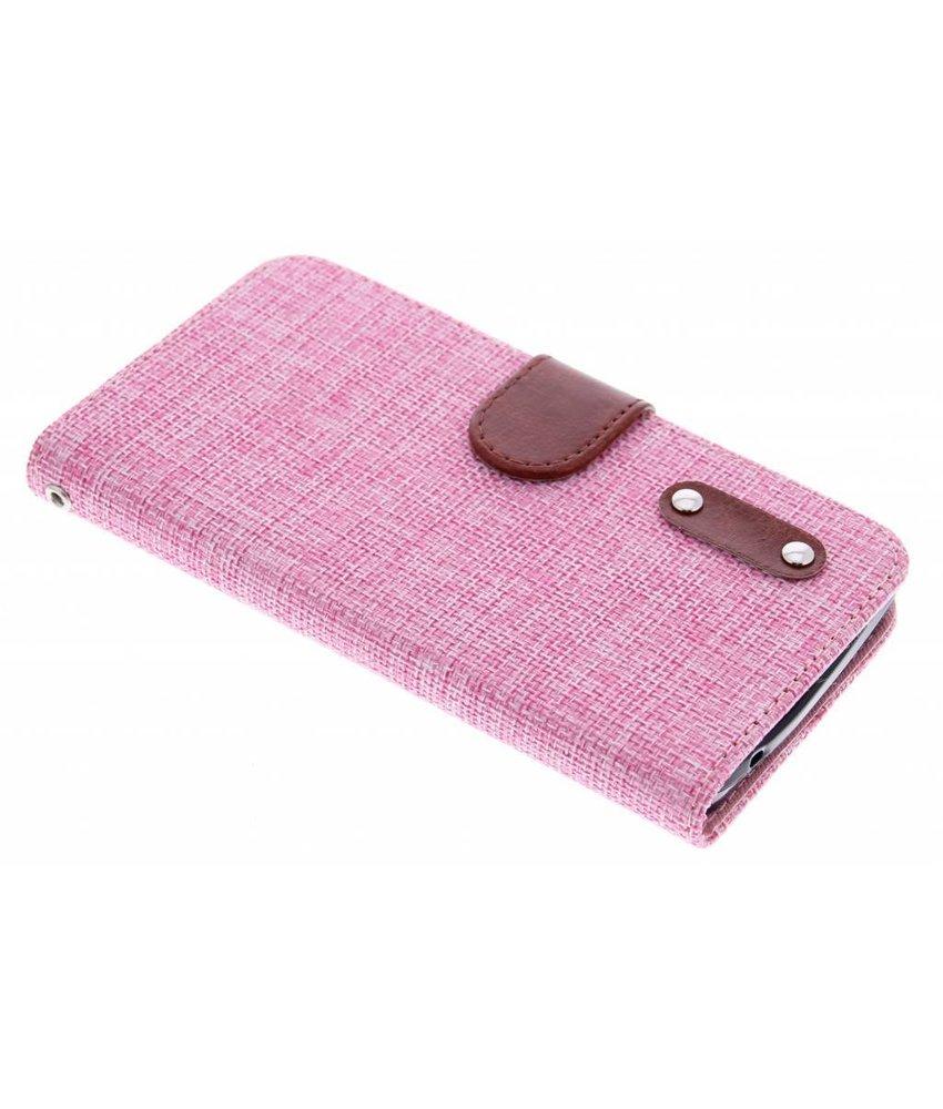 Roze linnen look TPU booktype hoes Huawei Y635