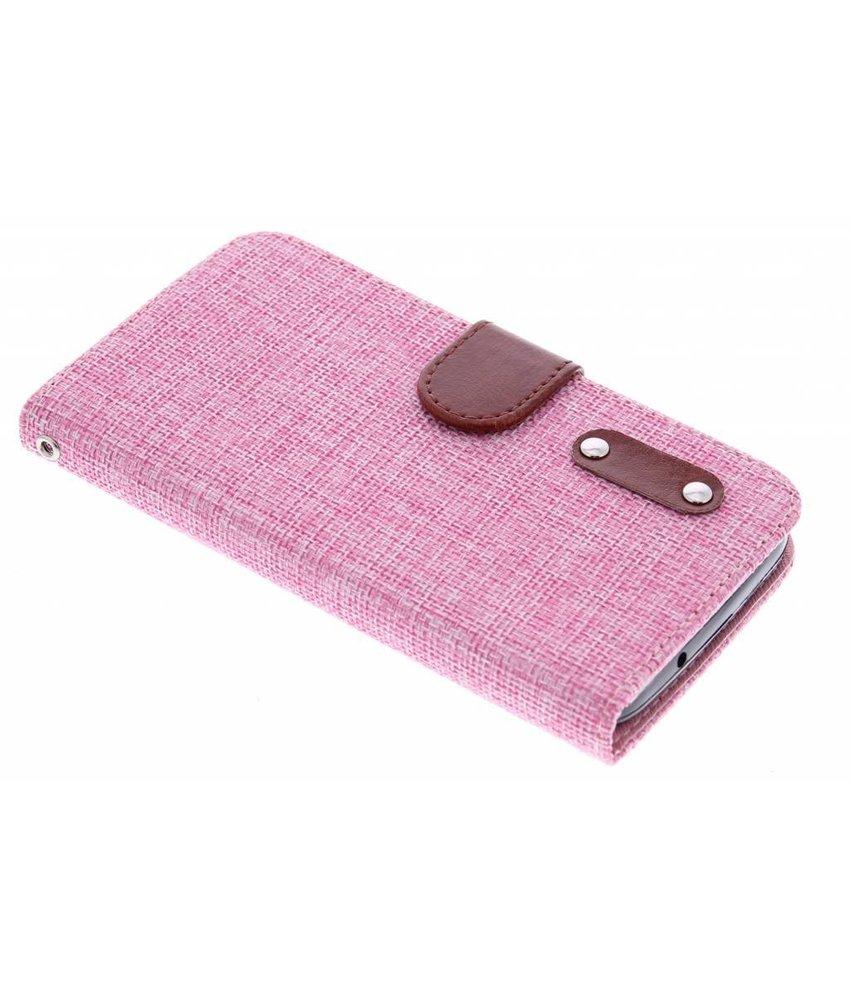 Roze linnen look TPU booktype hoes Huawei Y625