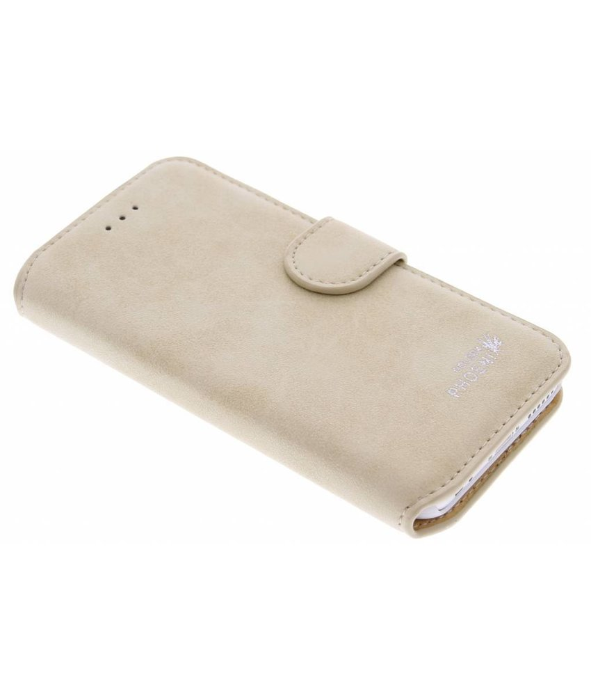 Beige luxe suède booktype hoes iPhone 6 / 6s