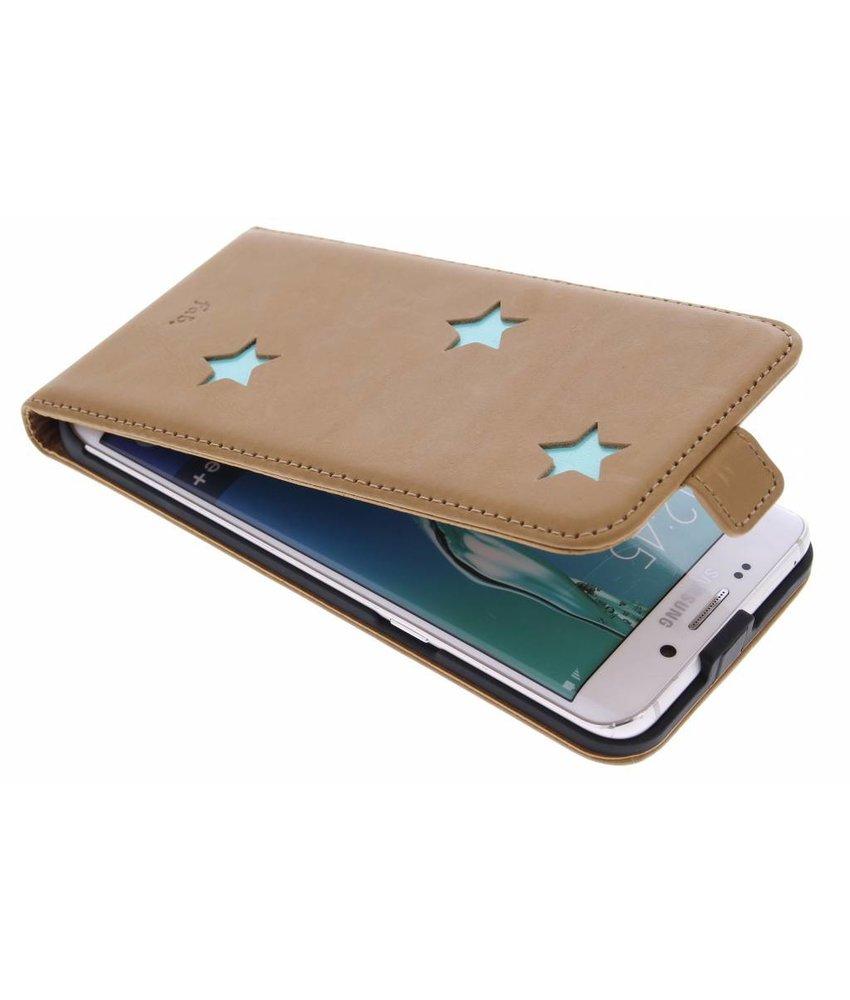 Brown Inversé Booktype Étoiles Pour Samsung Galaxy S6 TXsfg