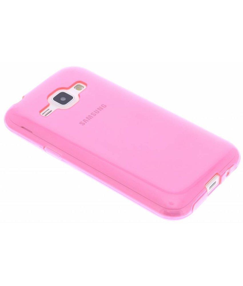 Fuchsia transparant gel case Samsung Galaxy J1
