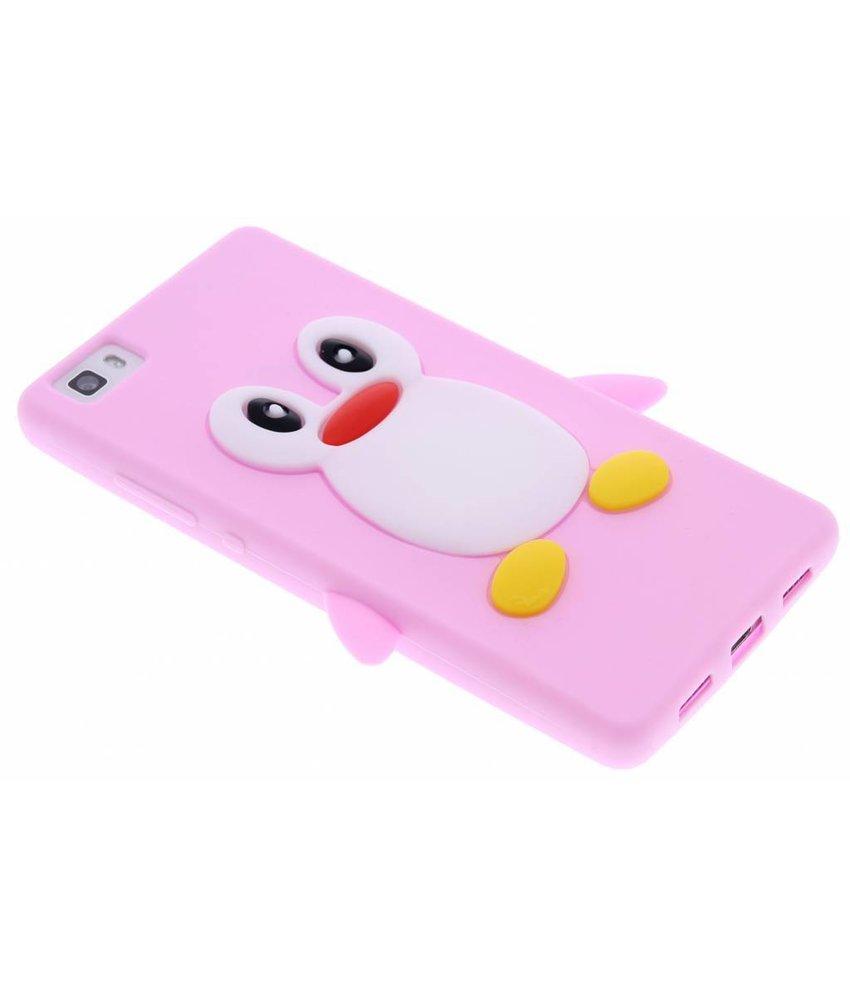 Roze pinguin siliconen hoesje Huawei P8 Lite