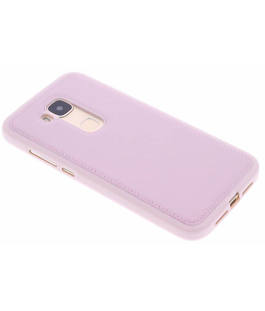 Roze lederen TPU case Huawei G8