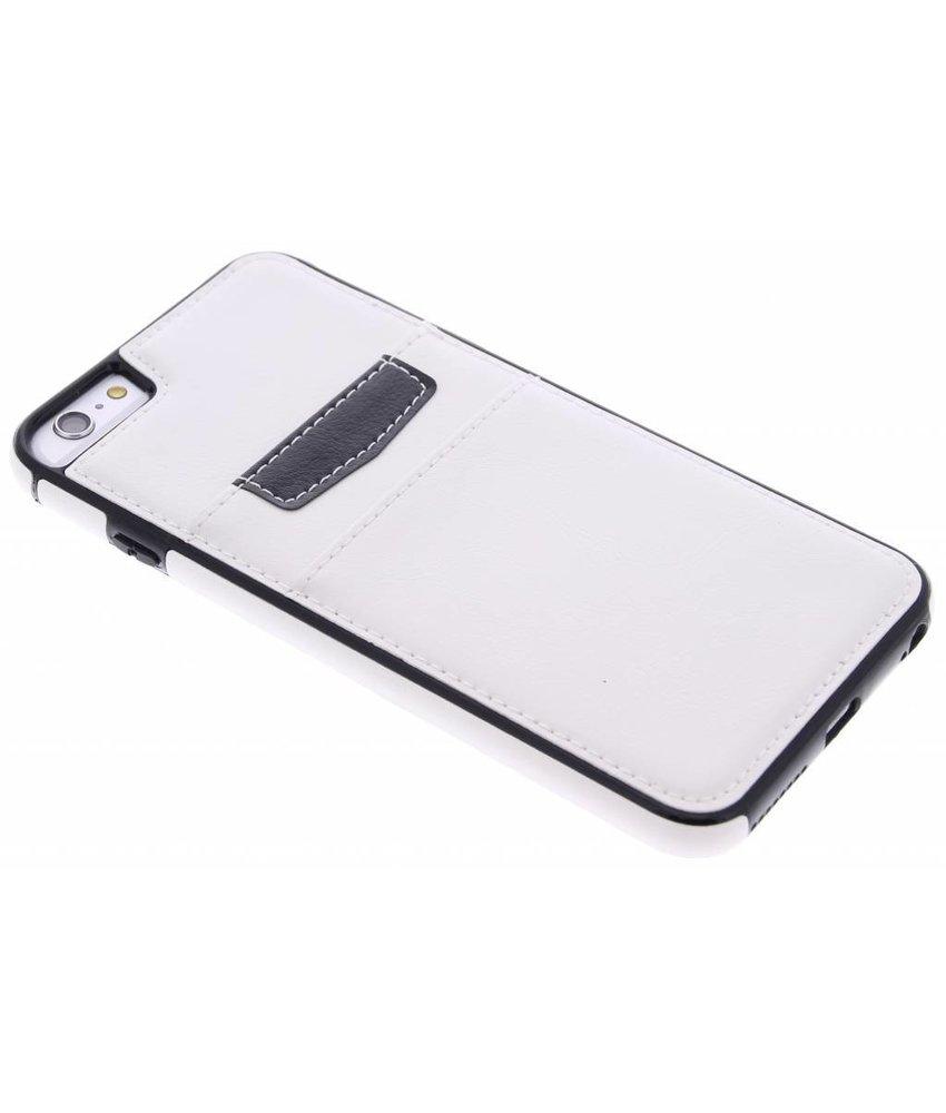 Wit lederen backcover met vakjes iPhone 6(s) Plus