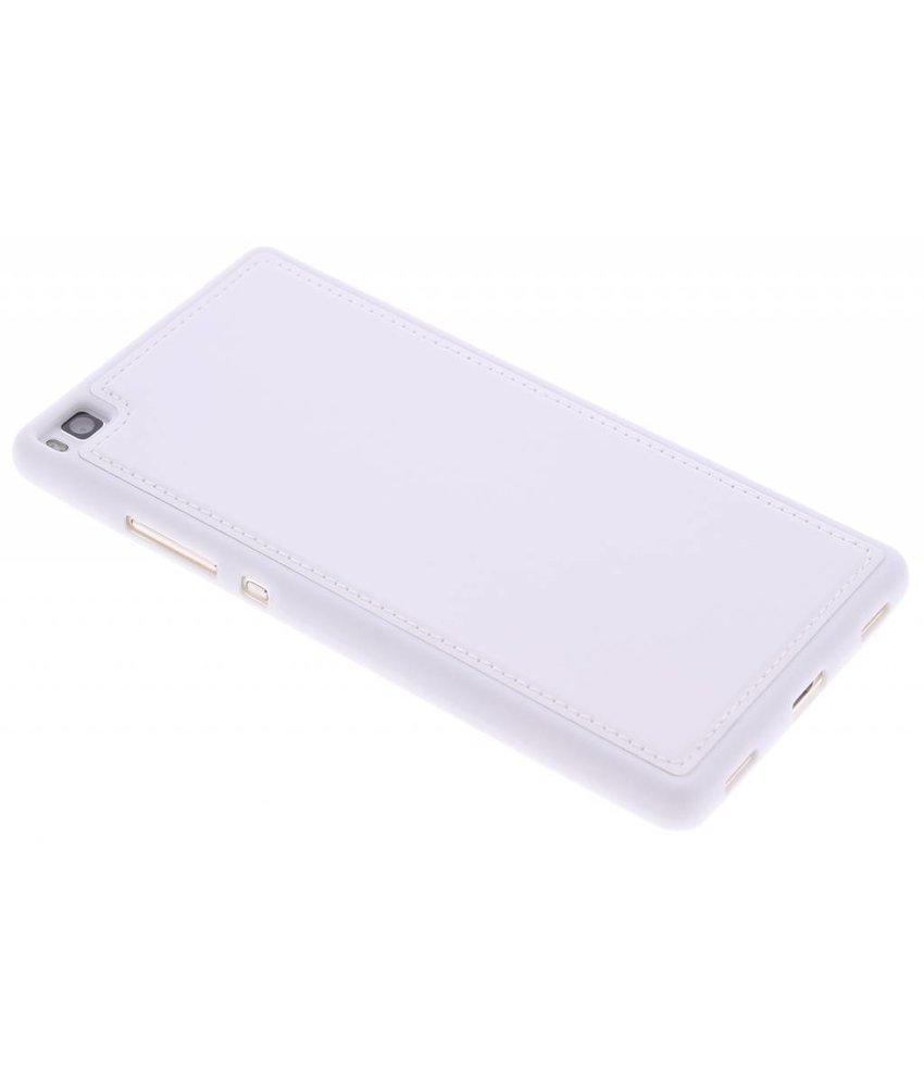 Wit lederen TPU case Huawei P8