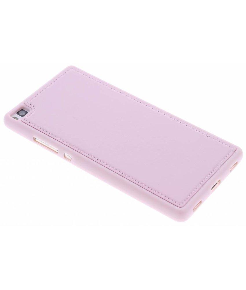 Roze lederen TPU case Huawei P8