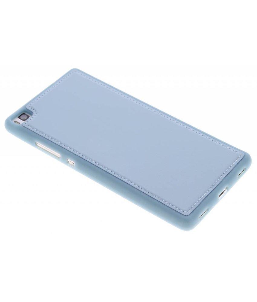 Blauw lederen TPU case Huawei P8