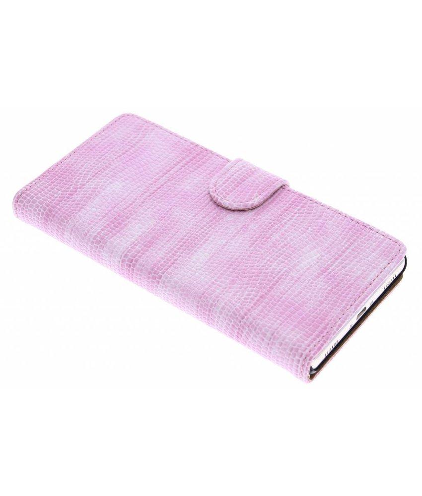 Roze hagedis design booktype hoes Huawei P8