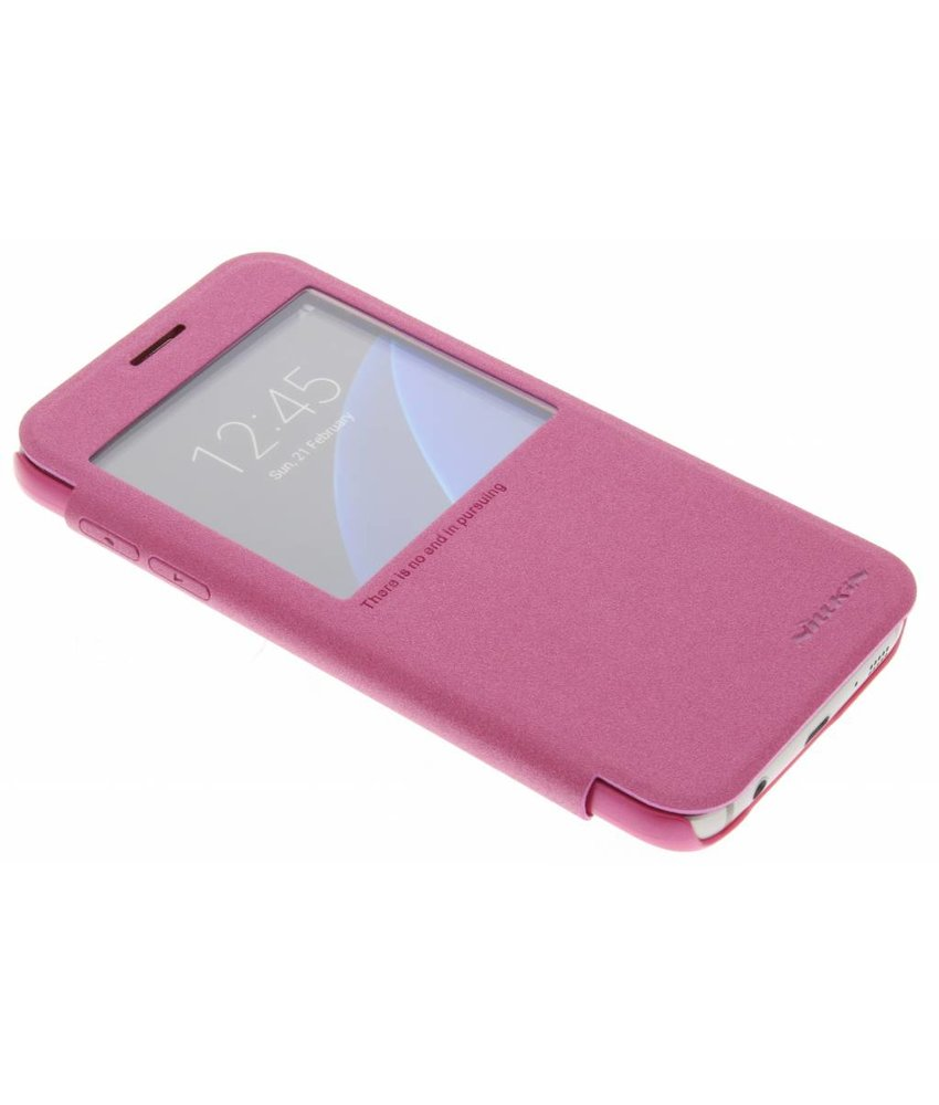Nillkin Sparkle slim booktype hoes Samsung Galaxy S7 - Fuchsia