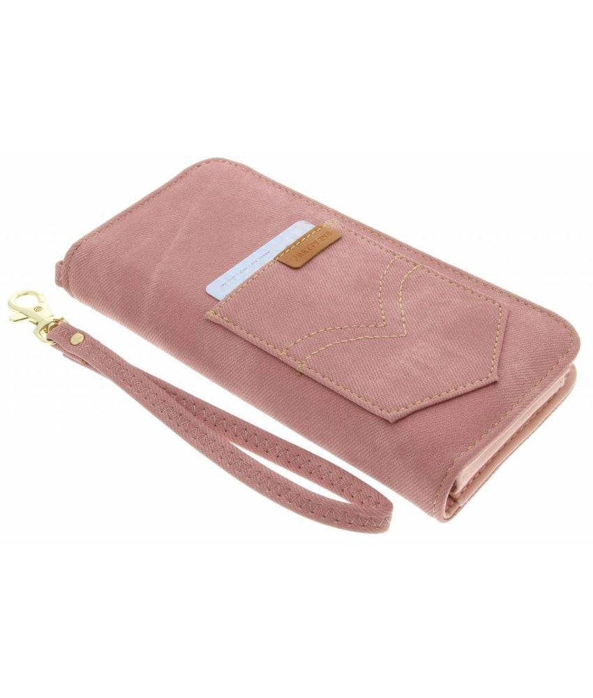Roze universeel Denim Jeans portemonnee hoesje maat L