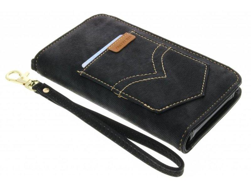 Zwart universeel Denium Jeans portemonnee hoesje maat M