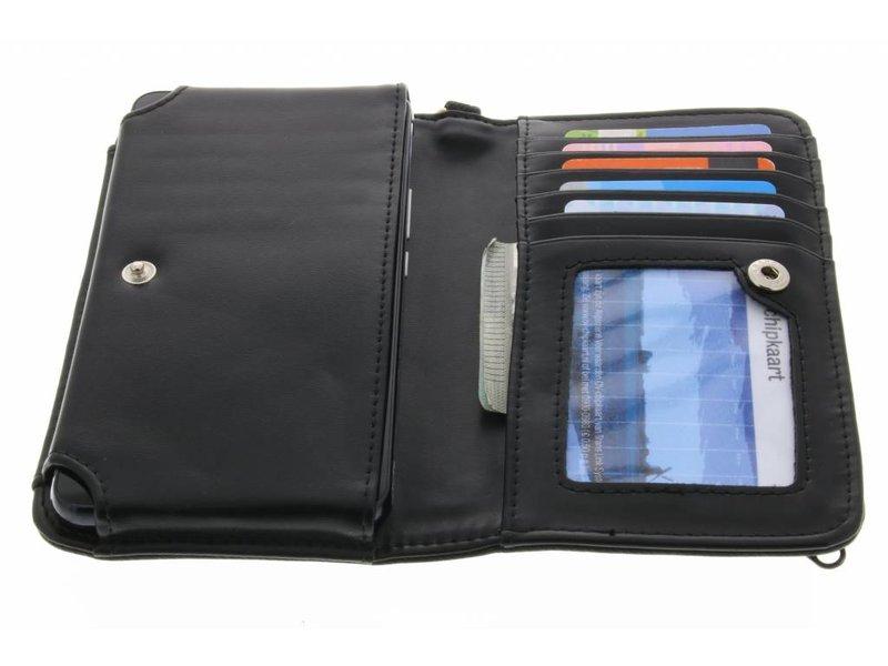 Zwart universeel Denim Jeans portemonnee hoesje maat M