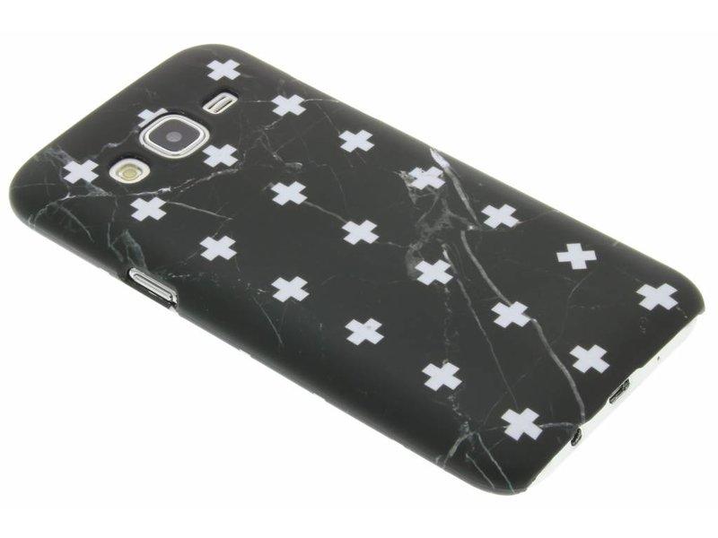 Marbre Noir Ainsi Que La Conception De La Couverture Étui Rigide Pour Samsung Galaxy J5 MetExBIx1k
