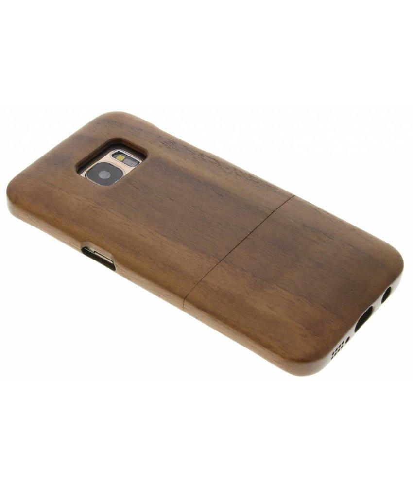 Donkerbruin houten hardcase hoesje Samsung Galaxy S7 Edge