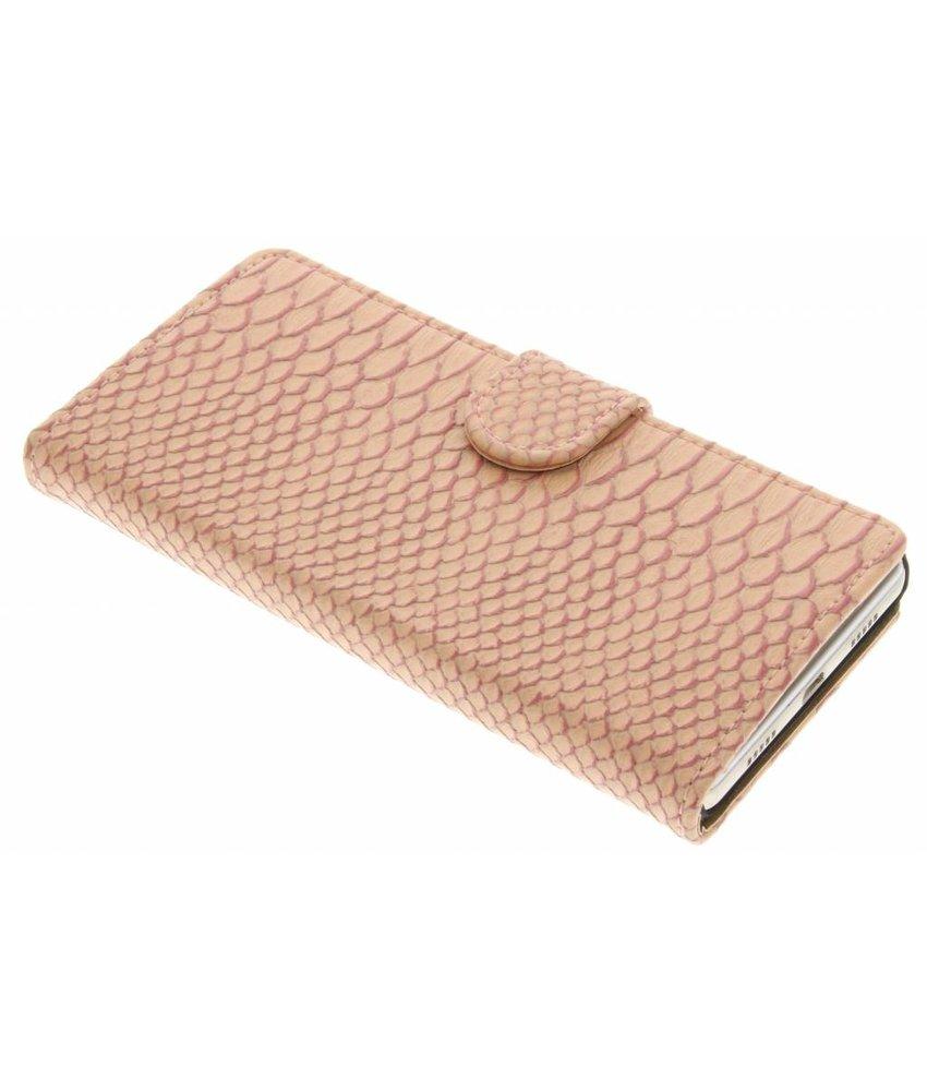 Roze slangen booktype hoes Huawei P8 Lite
