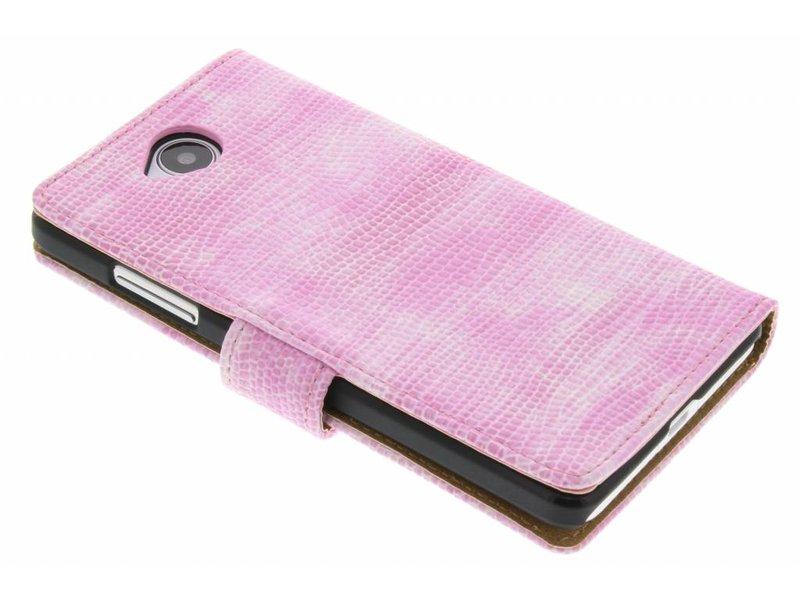 Microsoft Lumia 650 hoesje - Roze hagedis design booktype