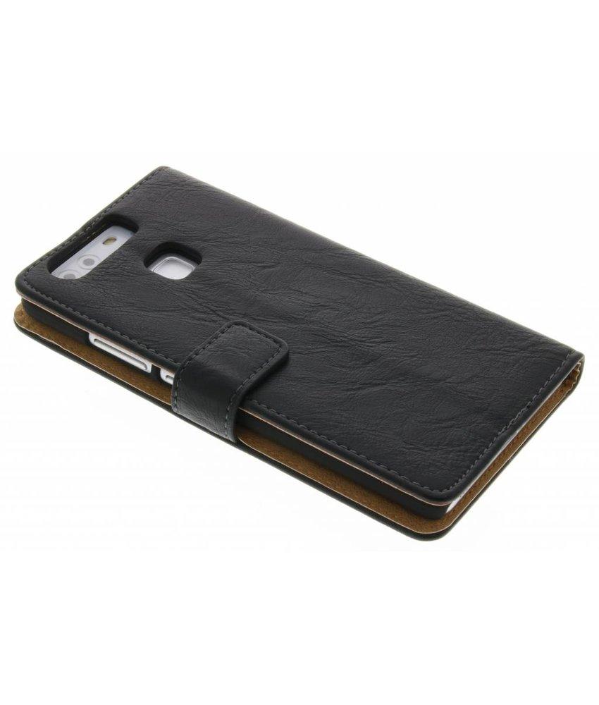 Zwart kreukelleder booktype hoes Huawei P9