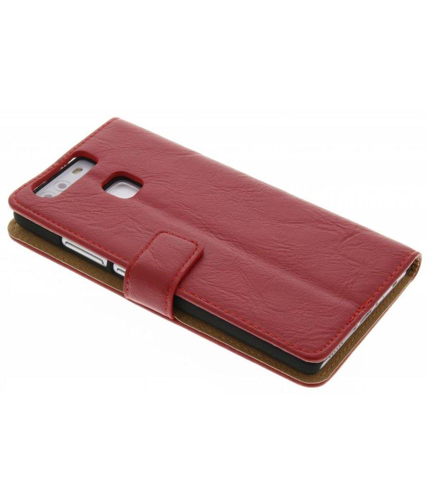 Rood kreukelleder booktype hoes Huawei P9